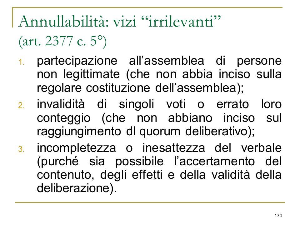 ipotesi di invalidità ANNULLABILITA' VIZI: