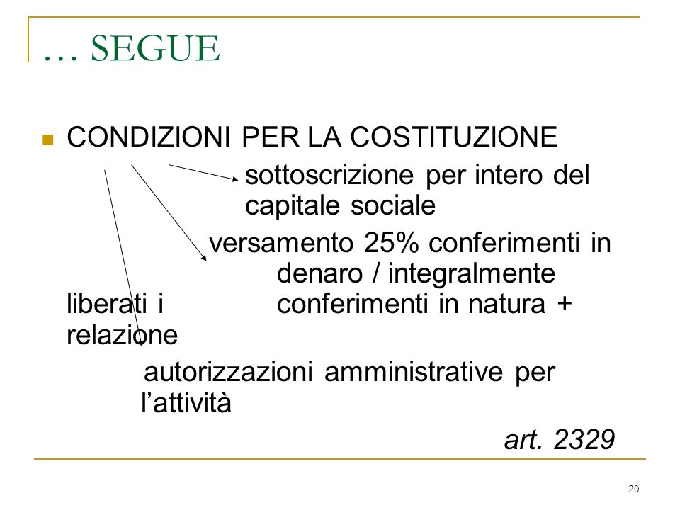 I TIPI DI SOCIETA' DISTINZIONE CAUSALE TRA: SOCIETA' LUCRATIVE