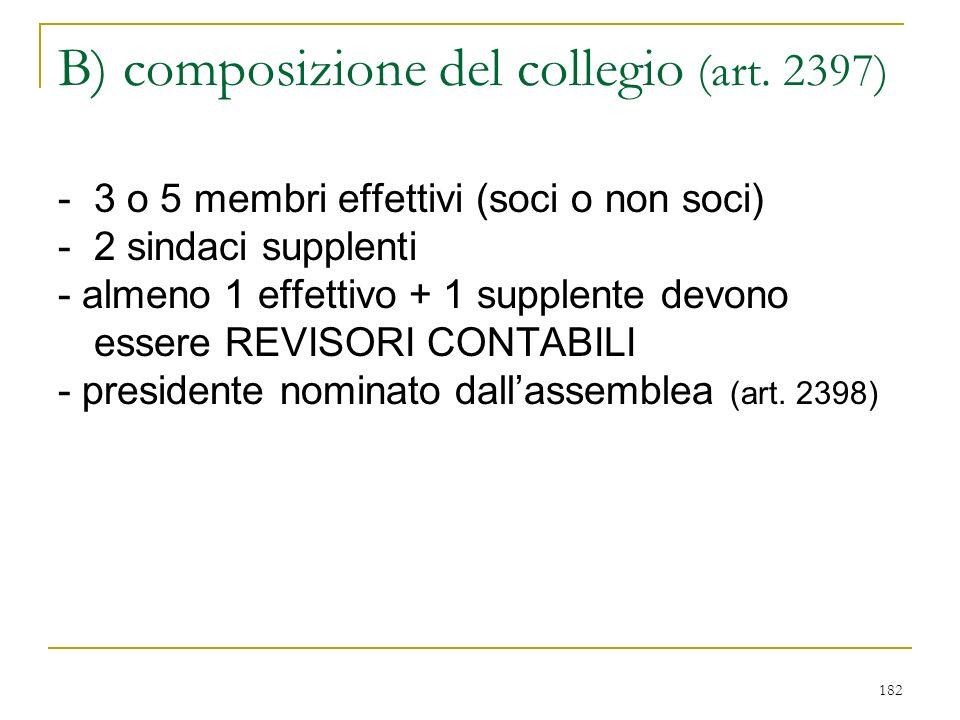 1) COLLEGIO SINDACALE A) funzione del collegio