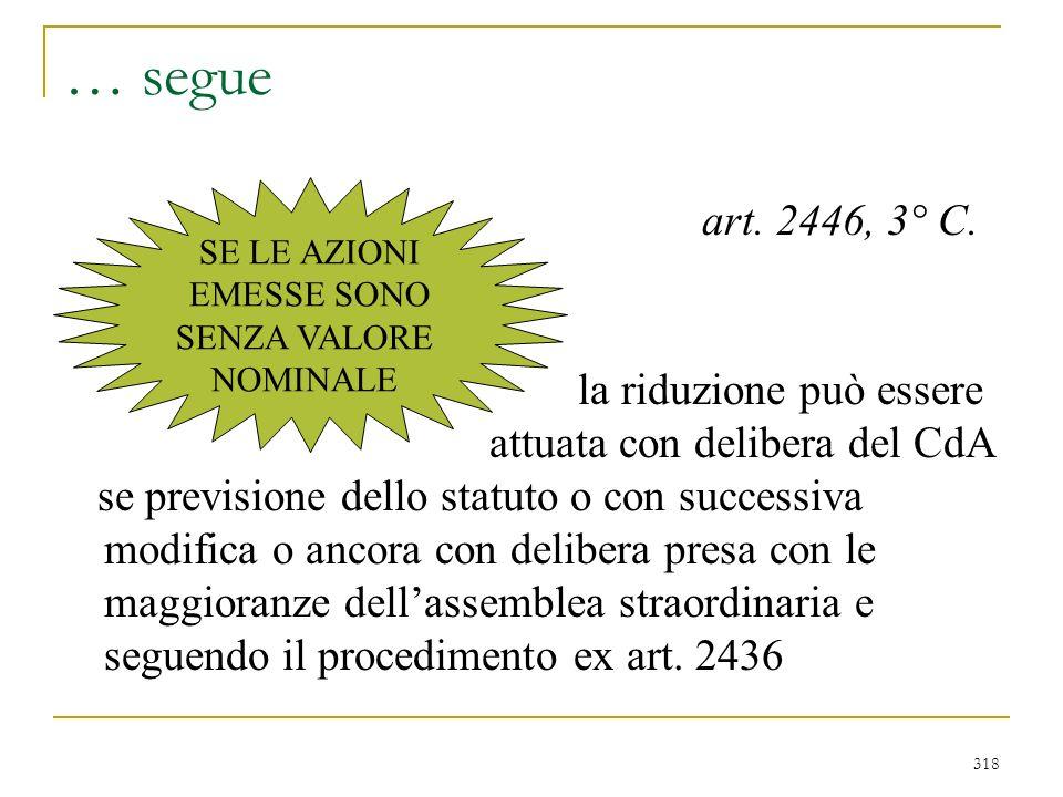 RIDUZIONE PER PERDITE - artt. 2446 – 2447