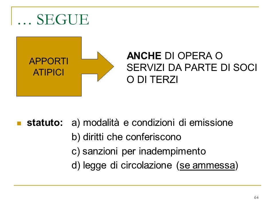 … l'organizzazione degli obbligazionisti (carattere tipologico)