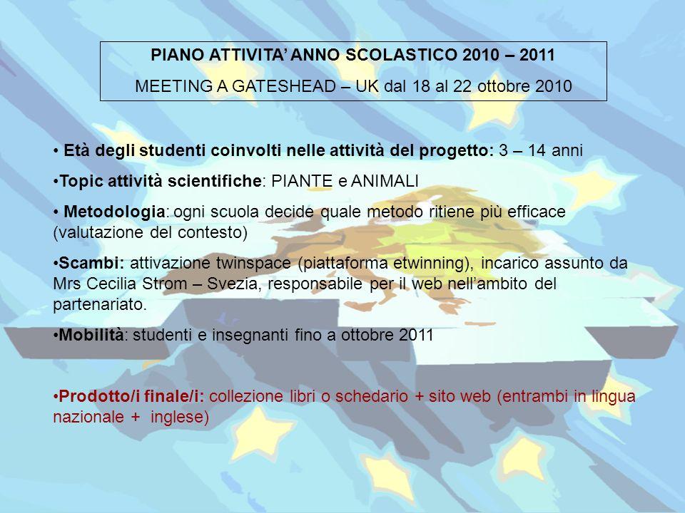 PIANO ATTIVITA' ANNO SCOLASTICO 2010 – 2011