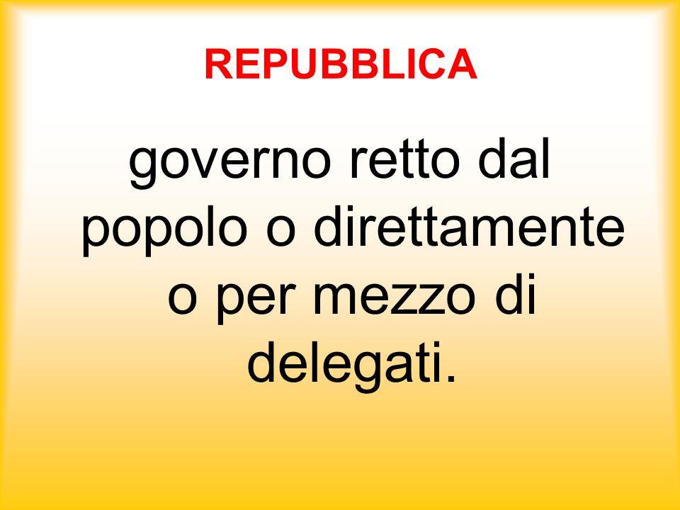 governo retto dal popolo o direttamente o per mezzo di delegati.
