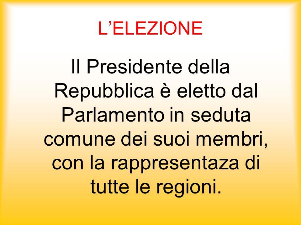 L'ELEZIONE Il Presidente della Repubblica è eletto dal Parlamento in seduta comune dei suoi membri, con la rappresentaza di tutte le regioni.
