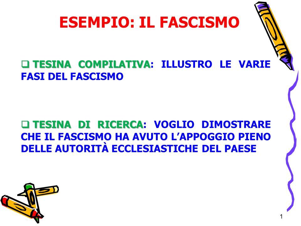 ESEMPIO: IL FASCISMO TESINA COMPILATIVA: ILLUSTRO LE VARIE FASI DEL FASCISMO.