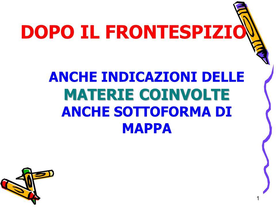 ANCHE INDICAZIONI DELLE MATERIE COINVOLTE ANCHE SOTTOFORMA DI MAPPA