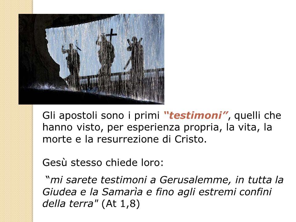Gli apostoli sono i primi testimoni , quelli che hanno visto, per esperienza propria, la vita, la morte e la resurrezione di Cristo.