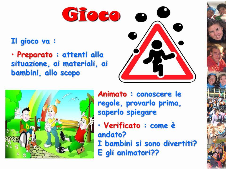 Gioco Il gioco va : Preparato : attenti alla situazione, ai materiali, ai bambini, allo scopo.
