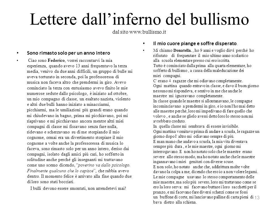 Lettere dall'inferno del bullismo dal sito www.bullismo.it