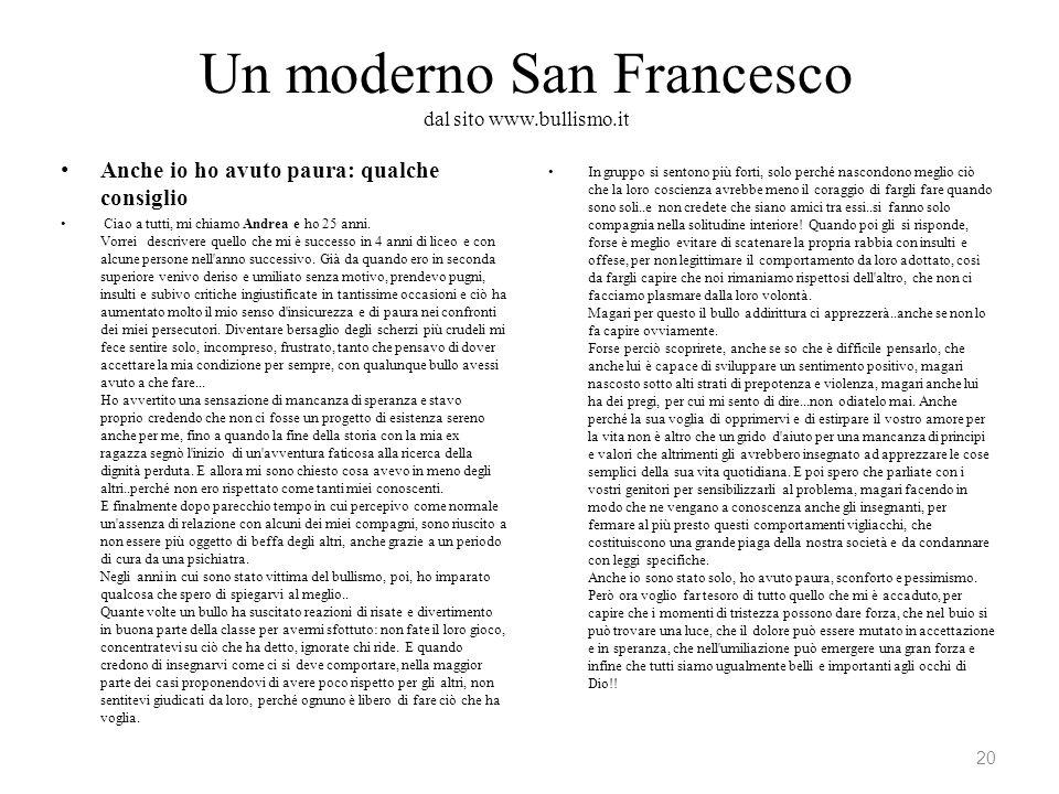 Un moderno San Francesco dal sito www.bullismo.it
