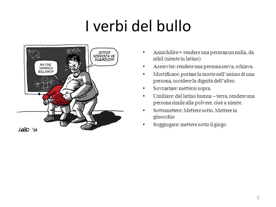 I verbi del bullo Annichilire = rendere una persona un nulla, da nihil (niente in latino) Asservire: rendere una persona serva, schiava.