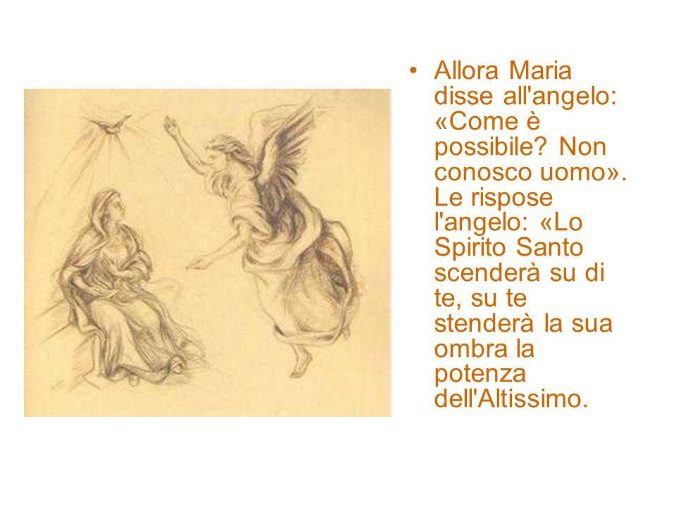 Allora Maria disse all angelo: «Come è possibile. Non conosco uomo»