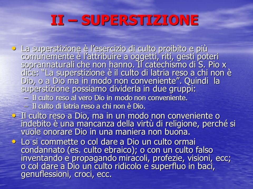 II – SUPERSTIZIONE