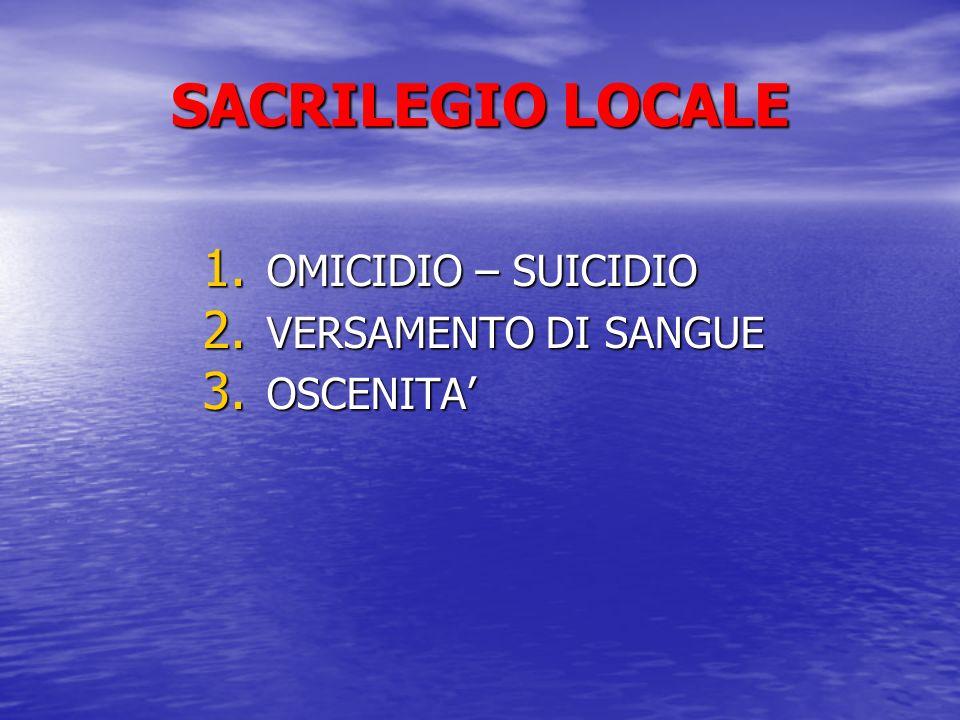 SACRILEGIO LOCALE OMICIDIO – SUICIDIO VERSAMENTO DI SANGUE OSCENITA'