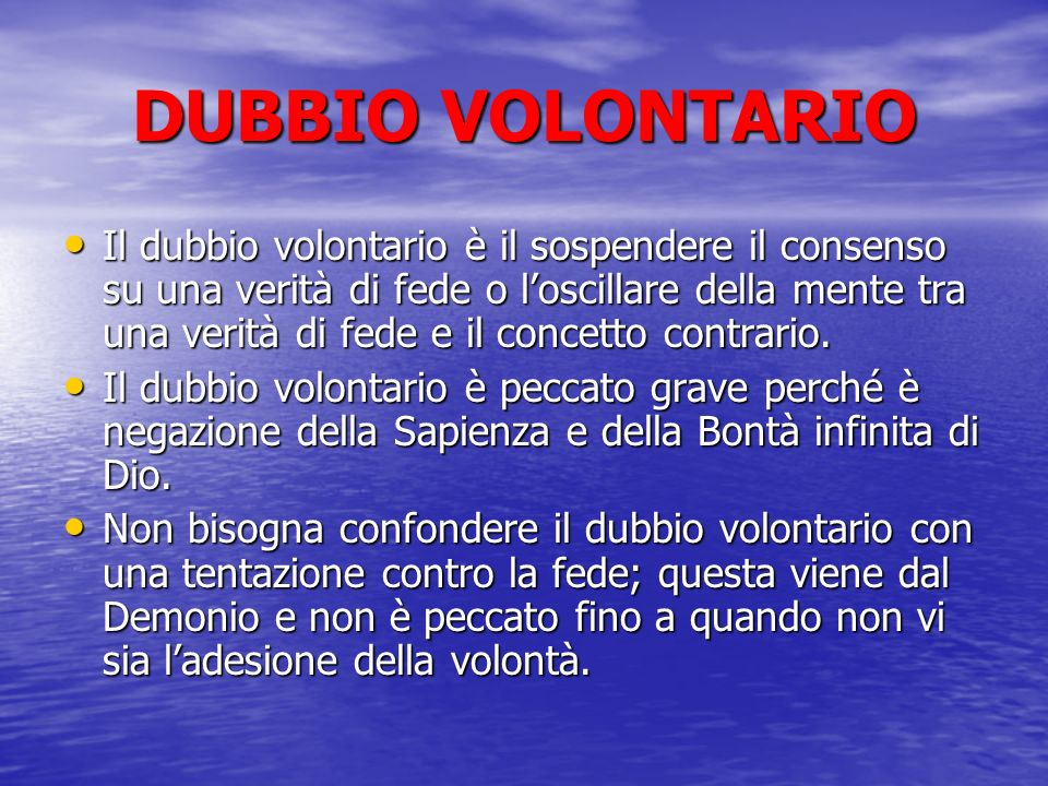 DUBBIO VOLONTARIO