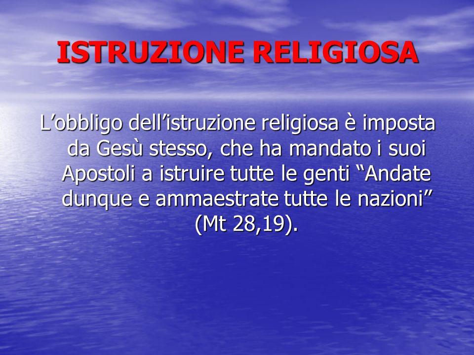 ISTRUZIONE RELIGIOSA