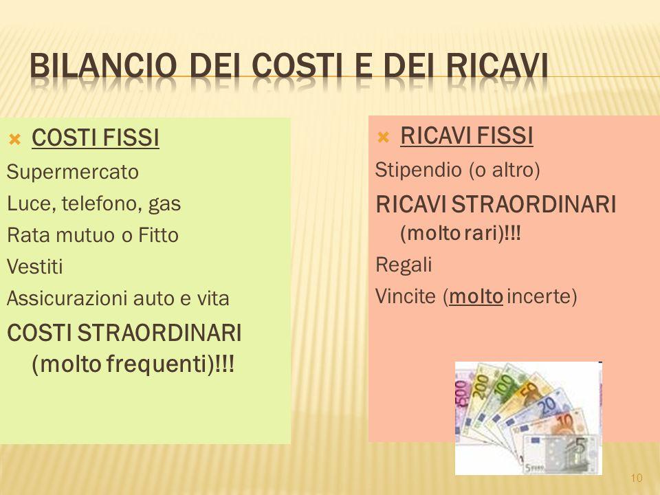 BILANCIO DEI COSTI E DEI RICAVI