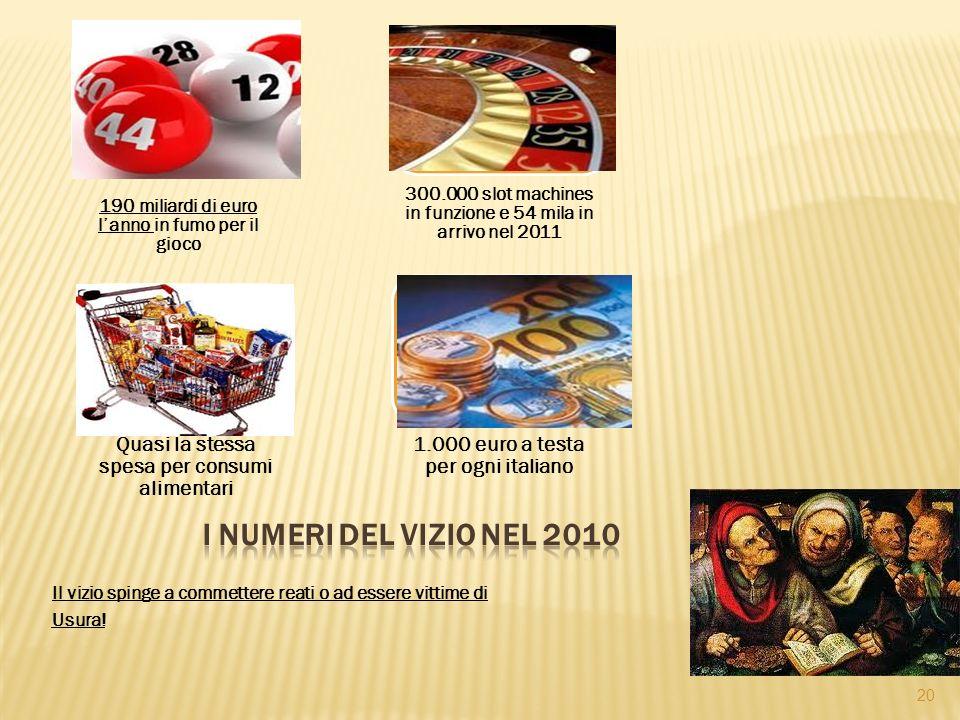 190 miliardi di euro l'anno in fumo per il gioco