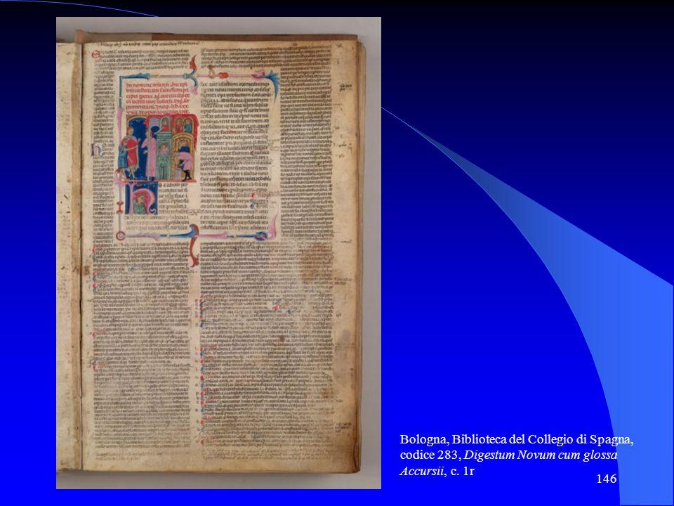 Bologna, Biblioteca del Collegio di Spagna, codice 283, Digestum Novum cum glossa Accursii, c. 1r