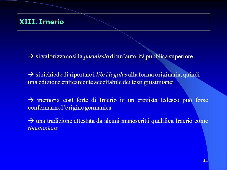 XIII. Irnerio  si valorizza così la permissio di un'autorità pubblica superiore.