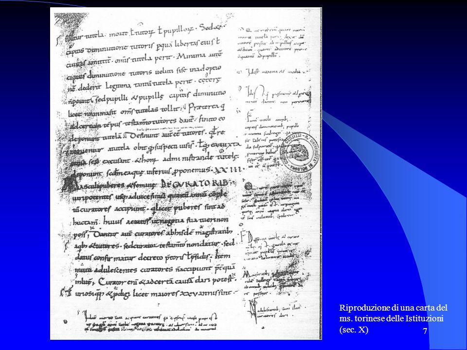 Riproduzione di una carta del ms. torinese delle Istituzioni (sec. X)