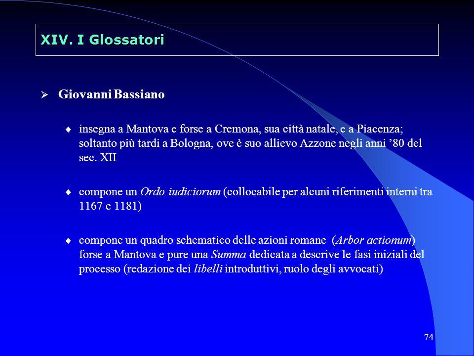 XIV. I Glossatori Giovanni Bassiano