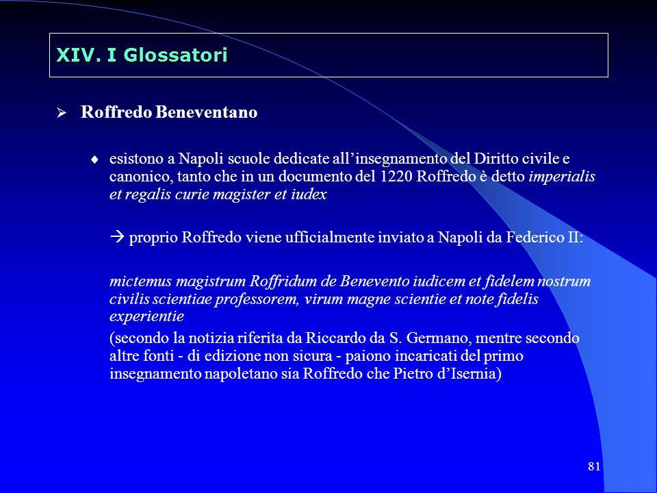 XIV. I Glossatori Roffredo Beneventano