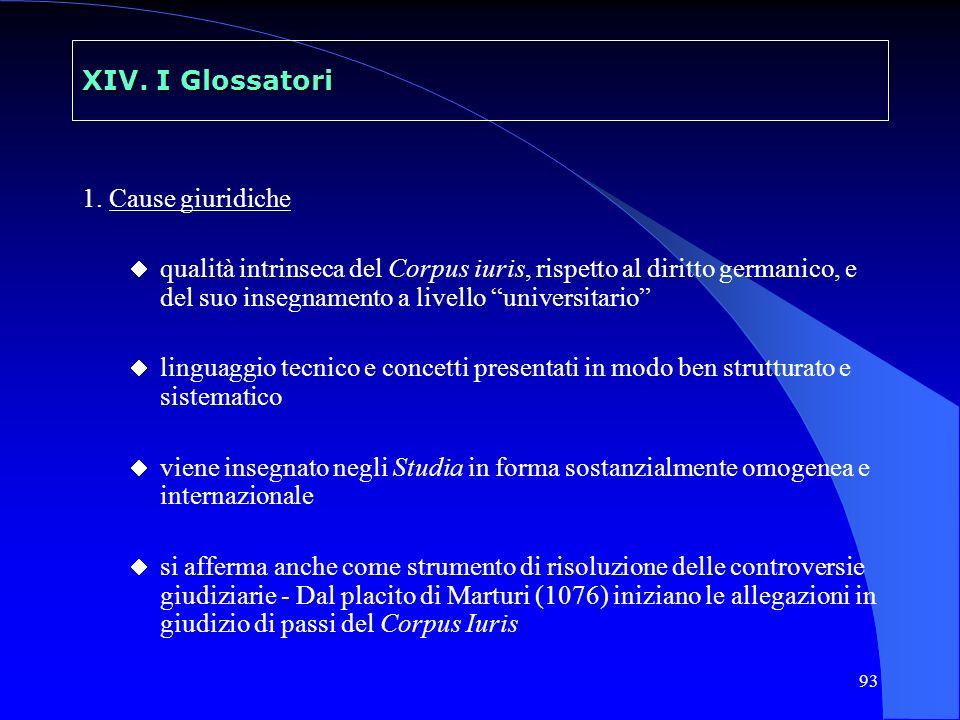 XIV. I Glossatori 1. Cause giuridiche.