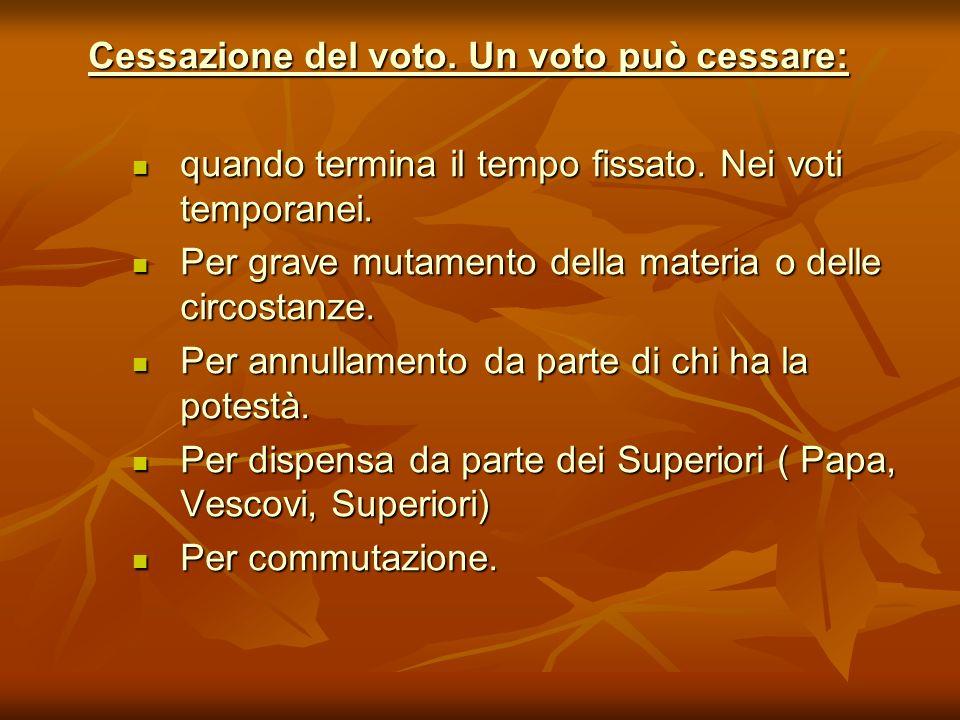Cessazione del voto. Un voto può cessare: