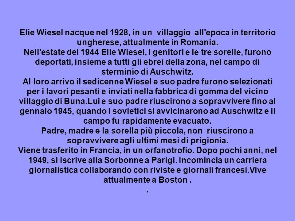 Elie Wiesel nacque nel 1928, in un villaggio all epoca in territorio ungherese, attualmente in Romania.