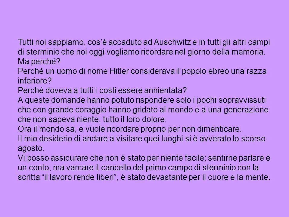 Tutti noi sappiamo, cos'è accaduto ad Auschwitz e in tutti gli altri campi di sterminio che noi oggi vogliamo ricordare nel giorno della memoria.