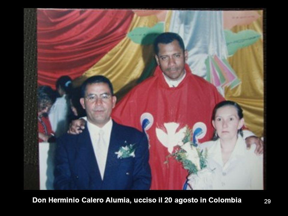 Don Herminio Calero Alumia, ucciso il 20 agosto in Colombia