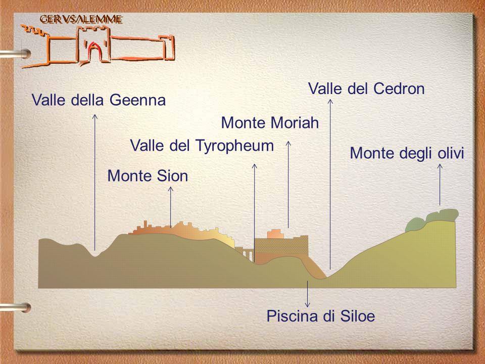 Valle del Cedron Valle della Geenna. Monte Moriah. Valle del Tyropheum. Monte degli olivi. Monte Sion.