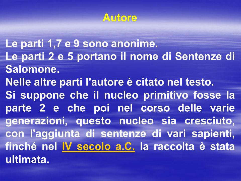 Autore Le parti 1,7 e 9 sono anonime. Le parti 2 e 5 portano il nome di Sentenze di Salomone. Nelle altre parti l autore è citato nel testo.