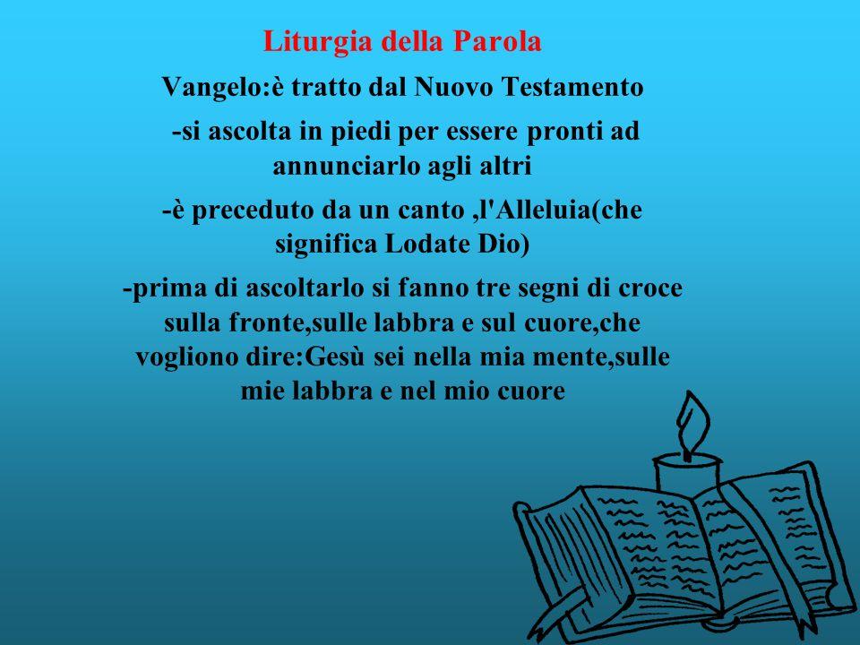 Liturgia della Parola Vangelo:è tratto dal Nuovo Testamento