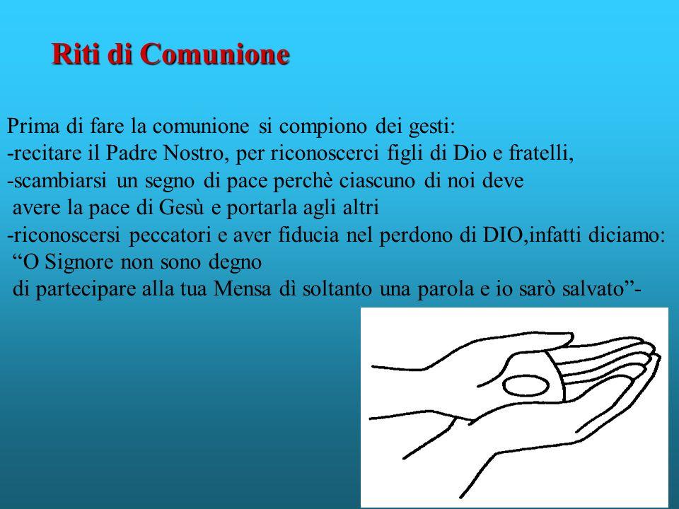 Riti di Comunione Prima di fare la comunione si compiono dei gesti: