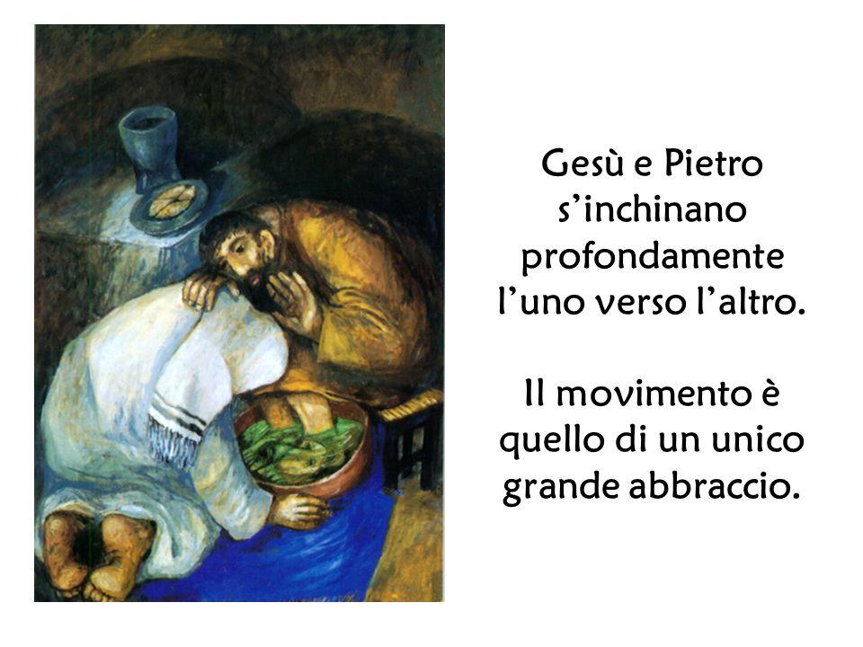 Gesù e Pietro s'inchinano profondamente l'uno verso l'altro.