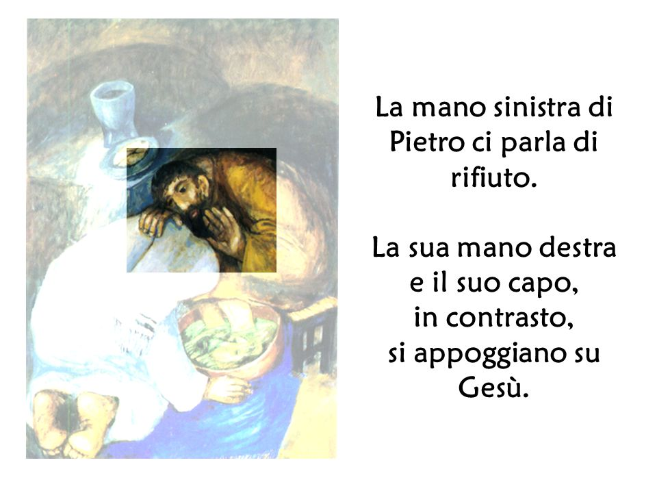 La mano sinistra di Pietro ci parla di rifiuto.