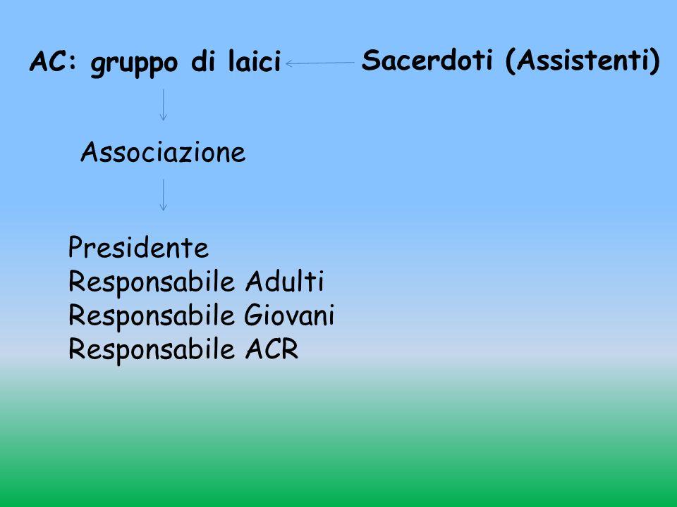 AC: gruppo di laici Sacerdoti (Assistenti) Associazione. Presidente. Responsabile Adulti. Responsabile Giovani.