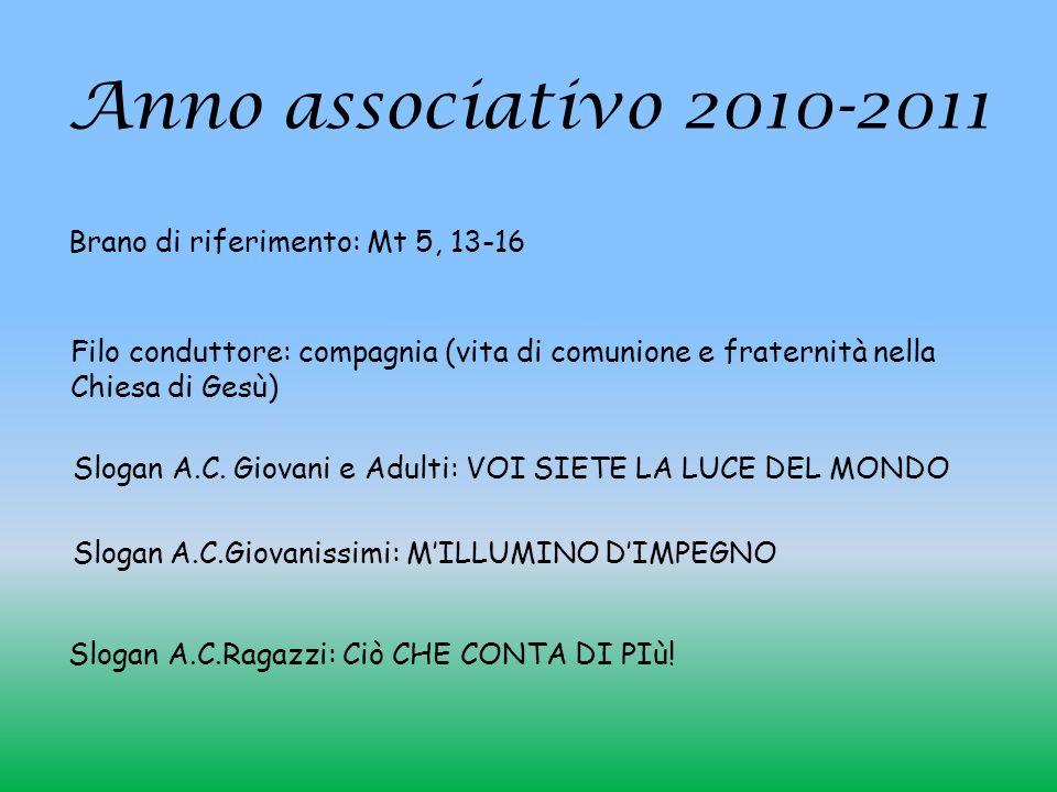 Anno associativo 2010-2011 Brano di riferimento: Mt 5, 13-16