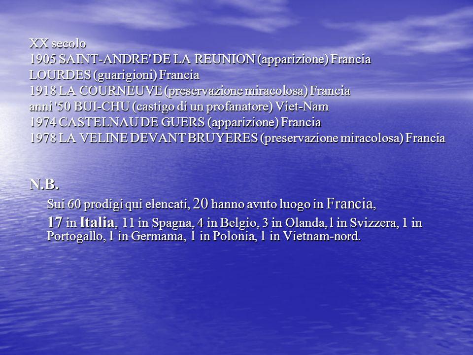 XX secolo1905 SAINT-ANDRE DE LA REUNION (apparizione) Francia. LOURDES (guarigioni) Francia. 1918 LA COURNEUVE (preservazione miracolosa) Francia.