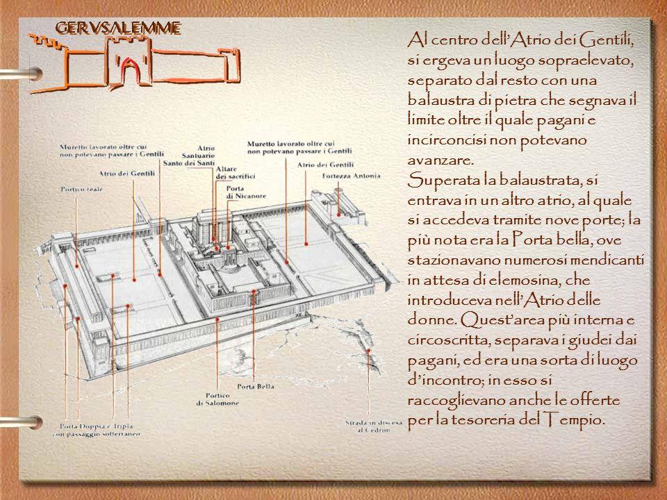 Al centro dell'Atrio dei Gentili, si ergeva un luogo sopraelevato, separato dal resto con una balaustra di pietra che segnava il limite oltre il quale pagani e incirconcisi non potevano avanzare.
