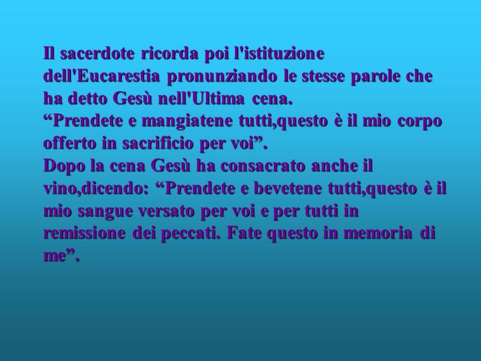 Il sacerdote ricorda poi l istituzione dell Eucarestia pronunziando le stesse parole che ha detto Gesù nell Ultima cena.