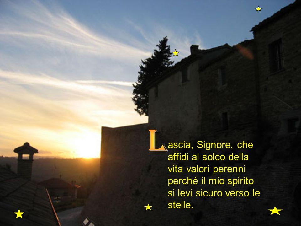 L ascia, Signore, che affidi al solco della vita valori perenni perché il mio spirito si levi sicuro verso le stelle.