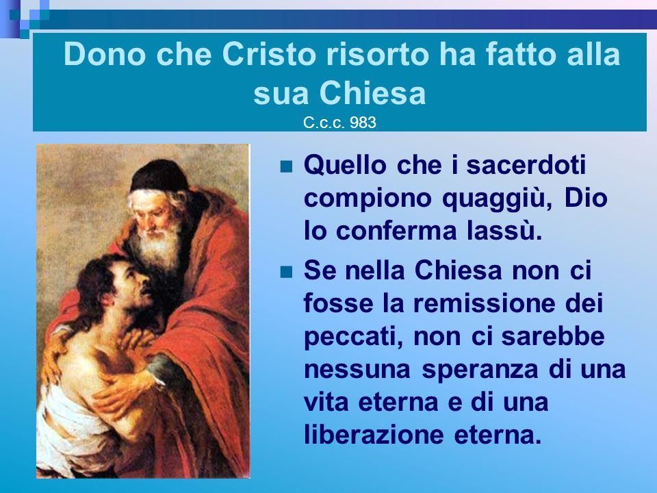 Dono che Cristo risorto ha fatto alla sua Chiesa C.c.c. 983