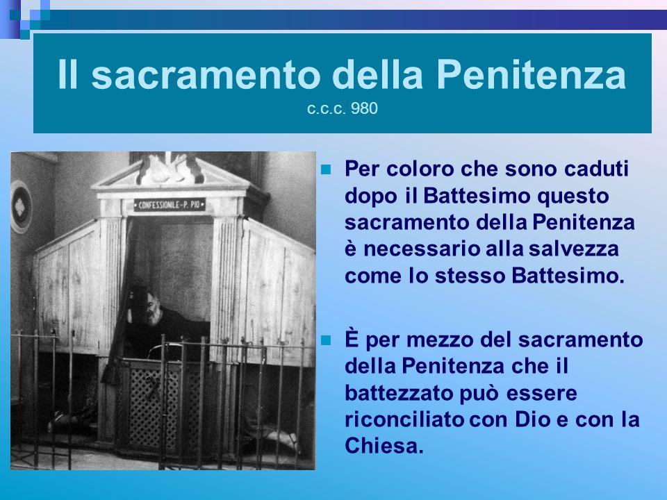 Il sacramento della Penitenza c.c.c. 980