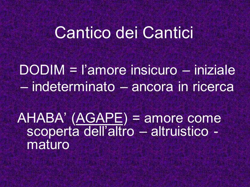 Cantico dei Cantici DODIM = l'amore insicuro – iniziale – indeterminato – ancora in ricerca.