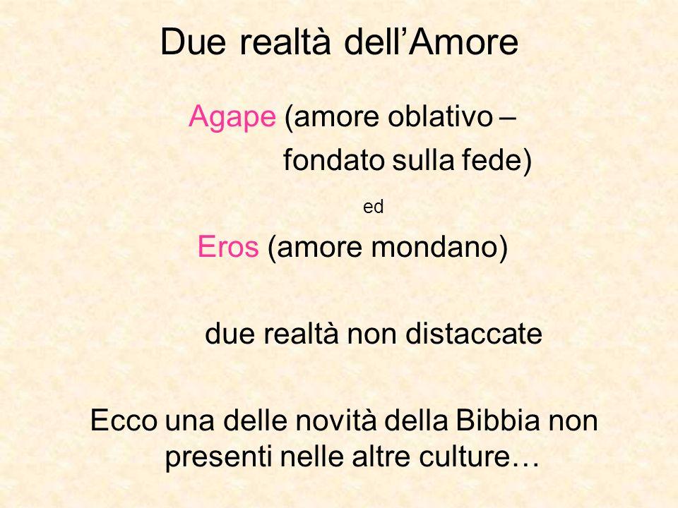 Due realtà dell'Amore Agape (amore oblativo – fondato sulla fede) ed