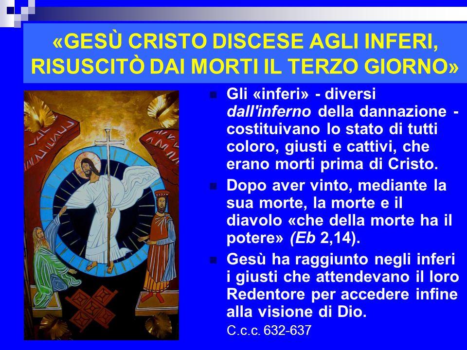 «GESÙ CRISTO DISCESE AGLI INFERI, RISUSCITÒ DAI MORTI IL TERZO GIORNO»