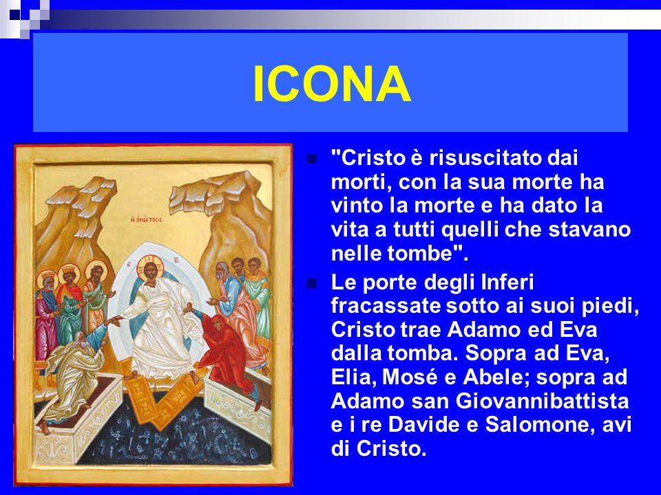 ICONA Cristo è risuscitato dai morti, con la sua morte ha vinto la morte e ha dato la vita a tutti quelli che stavano nelle tombe .